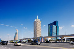 zayed Road回教族长是最繁忙的路在迪拜 库存照片