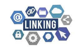 Zazębiania połączenie z internetem strony internetowej pojęcie zdjęcia stock
