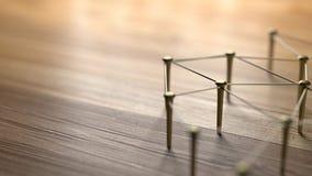 Zazębianie jednostki Sieć, networking, ogólnospołeczni środki, internet komunikaci abstrakt Sieć złoto druty na nieociosanym drew Obrazy Royalty Free