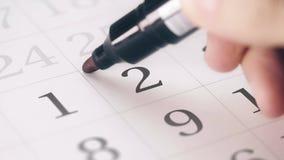 Zaznaczał drugi 2 dzień miesiąc w kalendarzowych transformatach OPRÓCZ w DAKTYLOWEGO tekst zdjęcie wideo