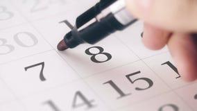 Zaznaczał eighth 8 dzień miesiąc w kalendarzowych transformatach w ostatecznego terminu tekst zbiory
