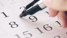 Zaznaczał ninth 9 dzień miesiąc w kalendarzowych transformatach w ostatecznego terminu tekst zdjęcie wideo
