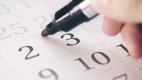 Zaznaczał trzeci 3 dzień miesiąc w kalendarzowych transformatach OPRÓCZ w DAKTYLOWEGO tekst zbiory wideo