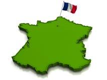 zaznacza France mapę Obrazy Royalty Free