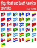 Zaznacza północ i południe Americas krajów płaskie ikony wektorowe Obrazy Royalty Free
