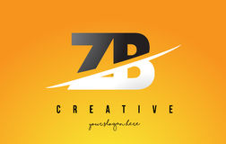 ZB Z B Letter Modern Logo Design with Yellow Background and Swoo Stock Image