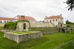 Main view to fortress in Zbarazh, Ternopil region, West Ukraine panorama of castle. Medieval fortress in Zbarazh, Ternopil region, West Ukraine Castle built stock images