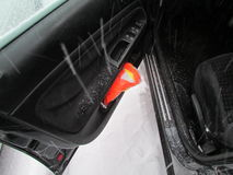 Zbawcza kamizelka w samochodowego drzwi kieszeni Styczeń 2016, usa Ð ' Obrazy Royalty Free