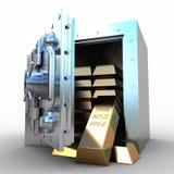 Zbawczego depozytowego pudełka i złota staniki na białym tle Obrazy Stock
