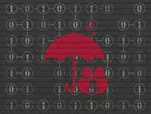 Zbawczy pojęcie: Rodzina I parasol na ściennym tle Zdjęcia Royalty Free