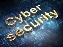 Zbawczy pojęcie: Złota Cyber ochrona na cyfrowym Obrazy Stock
