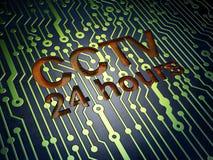 Zbawczy pojęcie: CCTV 24 godziny na obwód deski tle Fotografia Royalty Free