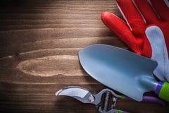 Zbawczy rękawiczkowi stalowi ogrodnictw secateurs i ręka rydla agricultur Zdjęcia Stock