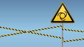 Zbawczy znak Ostrożność - niebezpieczeństwo Automatyczny wyposażenie początek Bariera znak na słupie i taśma tło niebiański wekto ilustracja wektor