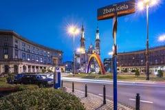 Zbawiciela square (Plac Zbawiciela) with rainbow Royalty Free Stock Photo