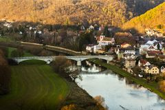 Zbecno wioska cesky krumlov republiki czech miasta średniowieczny stary widok obraz stock