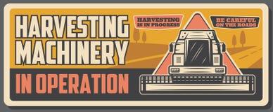 Zbierać syndykat i rolną maszynerię, rolnictwo ilustracja wektor