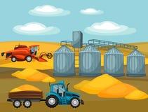 Zbierać adrę Syndykata żniwiarz, ciągnik i świron, Rolniczego ilustraci gospodarstwa rolnego wiejski krajobraz ilustracji