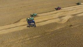 Zbierać pszenicznego żniwiarza Rolnicza maszyny żniwa adra na polu Obraz Stock
