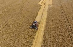 Zbierać pszenicznego żniwiarza Rolnicza maszyny żniwa adra na polu Zdjęcia Stock