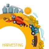 Zbierać tło Syndykata żniwiarz, ciągnik i świron na pszenicznym polu, Rolniczy ilustraci gospodarstwo rolne wiejski royalty ilustracja