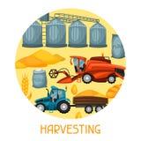 Zbierać tło Syndykata żniwiarz, ciągnik i świron, Rolniczego ilustraci gospodarstwa rolnego wiejski krajobraz ilustracja wektor