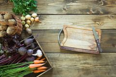 Zbiera świeżych warzywa od marchewki, beetroot, cebula, czosnek na starej drewnianej desce Odgórny widok Uprawiać ogródek kosmos  Fotografia Stock