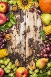 Zbiera owoc, jagody i warzywa z słonecznikiem na nieociosanym drewnianym tle, rama, odgórny widok Fotografia Royalty Free