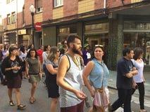 Zbiera w gijà ³ n Hiszpania przeciw bullfighting zdjęcie stock