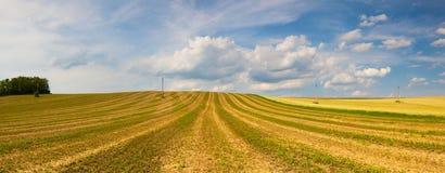 Zbierający pusty pole na wzgórzach fotografia royalty free