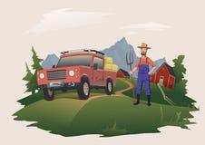 Zbierający siano lub kupujący Obsługuje pozycję obok samochodu, ładującego z sianem rolnik z pitchfork również zwrócić corel ilus royalty ilustracja