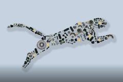 Zbierający wiele dodatkowymi częściami jaguar Fotografia Royalty Free