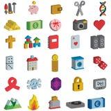 Zbieraniny 3D ikony Zdjęcia Royalty Free