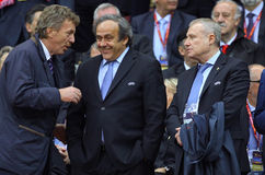 Zbigniew Boniek, Michael Platini and Hryhoriy Surkis Royalty Free Stock Photos
