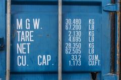 Zbiorników ciężary i wymiar informacje Zdjęcie Stock