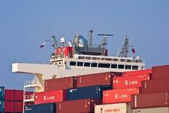 Zbiornik instalujący na pokładzie zbiornika statku Hamber most Nakhodka Zatoka Wschodni (Japonia) morze 19 04 2014 Fotografia Royalty Free