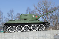 Zbiornik T-34 na piedestale Obraz Stock