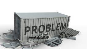 Zbiornik z BIZNESOWYM tekstem łama ładunku zbiornikiem z PROBLEMOWĄ inskrypcją Konceptualna 3D animacja ilustracja wektor
