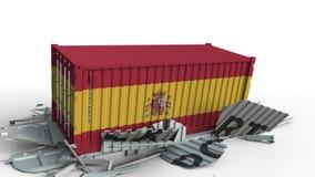 Zbiornik z EKSPORTOWYM tekstem rozbija z zbiornikiem z flagą Hiszpania, konceptualna 3D animacja zbiory