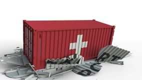 Zbiornik z EKSPORTOWYM tekstem rozbija z zbiornikiem z flagą Szwajcaria, konceptualna 3D animacja zbiory