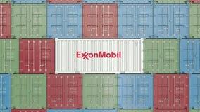 Zbiornik z ExxonMobil korporacyjnym logo Redakcyjna 3D animacja zdjęcie wideo