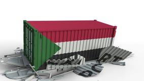 Zbiornik z flagą Sudan łamania zbiornik z EKSPORTOWYM tekstem Konceptualna 3D animacja zbiory