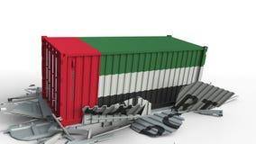 Zbiornik z flagą UAE łama zbiornika z EKSPORTOWYM tekstem Konceptualna 3D animacja zbiory wideo