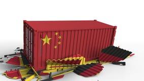 Zbiornik z flagą Chiny łama ładunku zbiornika z flagą Niemcy Wojna handlowa lub ekonomiczny konflikt odnosić sie royalty ilustracja