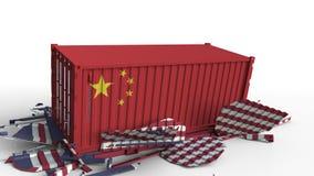 Zbiornik z flagą Chiny łama ładunku zbiornika z flagą Stany Zjednoczone Wojna handlowa lub ekonomiczny konflikt royalty ilustracja