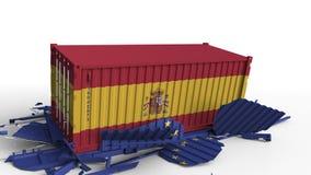 Zbiornik z flagą Hiszpania łama ładunku zbiornika z flagą unii europejskiej UE Wojna handlowa lub ekonomiczny konflikt ilustracja wektor