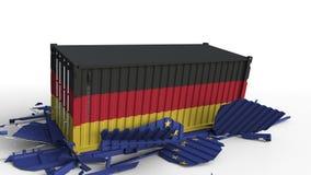 Zbiornik z flagą Niemcy łama ładunku zbiornika z flagą unii europejskiej UE Wojna handlowa lub ekonomiczny konflikt ilustracji