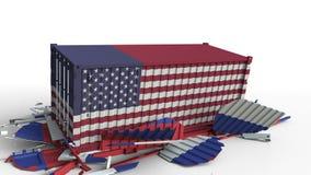 Zbiornik z flagą Stany Zjednoczone łama ładunku zbiornika z flagą Rosja Wojna handlowa lub ekonomiczny konflikt ilustracja wektor