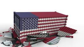 Zbiornik z flagą Stany Zjednoczone łama ładunku zbiornika z flagą Syria Wojna handlowa lub ekonomiczny konflikt ilustracja wektor