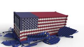 Zbiornik z flagą Stany Zjednoczone łama ładunku zbiornika z flagą unia europejska Wojna handlowa lub ekonomiczny royalty ilustracja